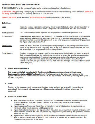sample non exclusive agent artist agreement