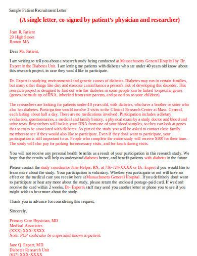 sample patient recruitment letter