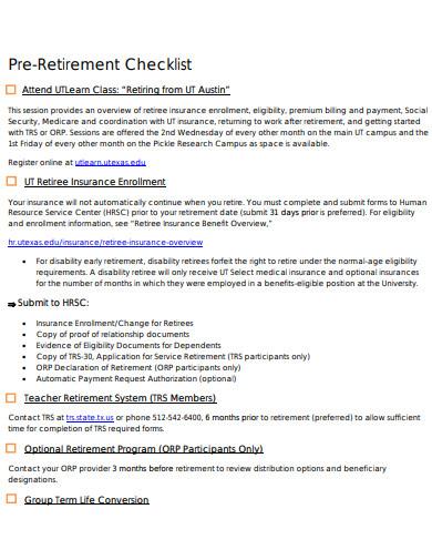 10+ Pre-retirement Checklist Templates in PDF | DOC | Free ...