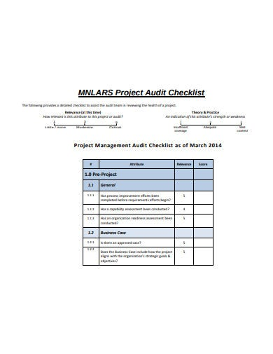 sample project audit checklist
