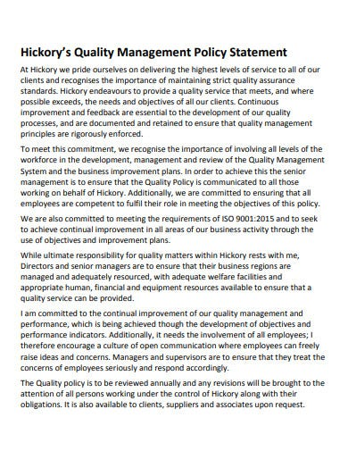 sample quality management policy statement