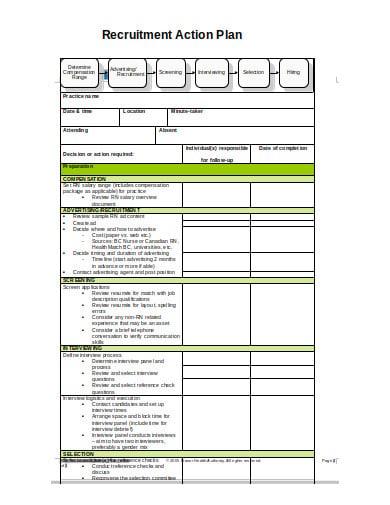 sample recruitment action plan