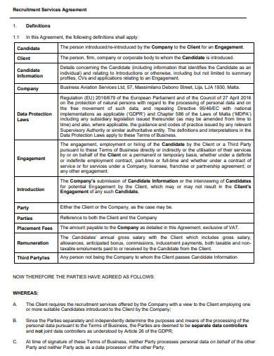 sample recruitment services agreement template