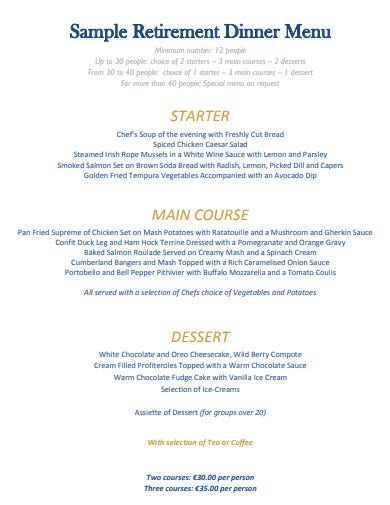 sample retirement dinner menu template