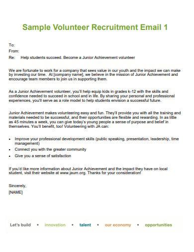 sample volunteer recruitment email template