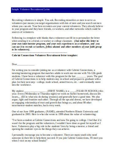 sample volunteer recruitment letter