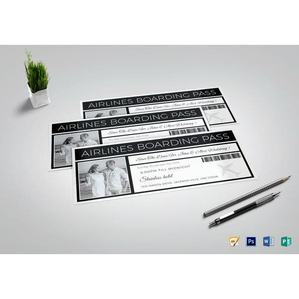 save the date boarding pass ticket template