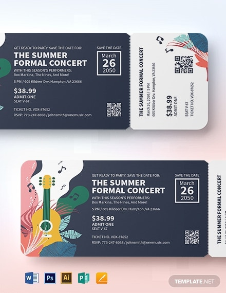 save the date concert ticket template 1