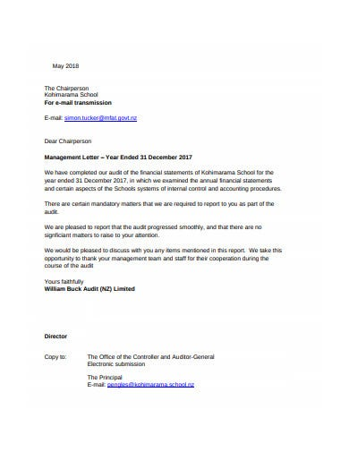 school audit management letter template