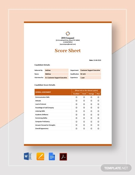 score sheet template