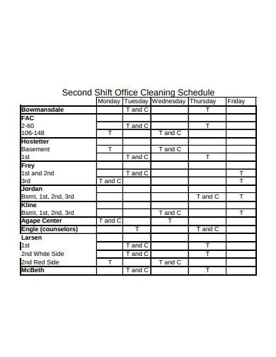 second shift office cleaning schedule template