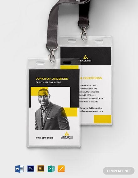 secret agent id card template