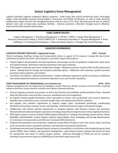 senior logistics resume