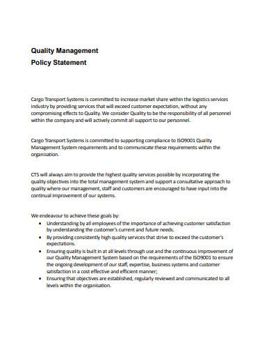 service quality management statement