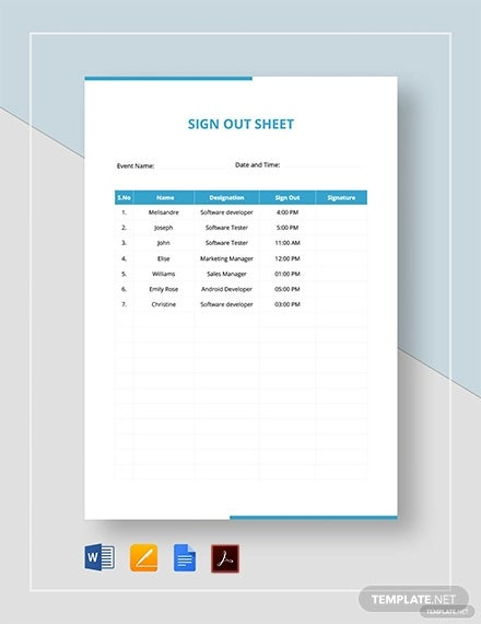 sign out sheet template