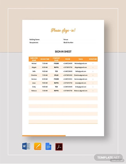 sign in sheet template1