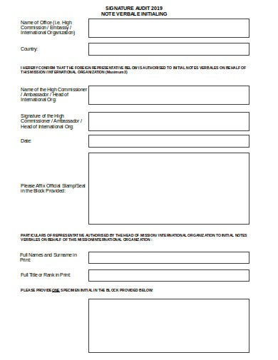 signature audit note template