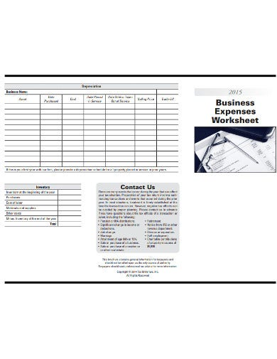 simple business expenses worksheet