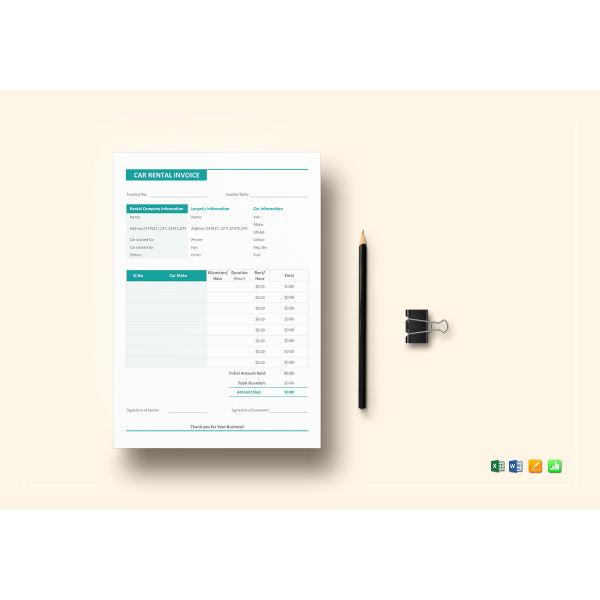 simple car rental invoice template