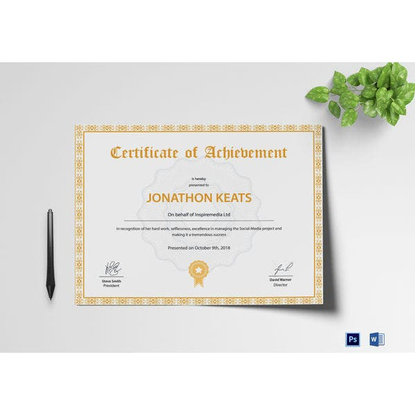 simple certificate of achievement template