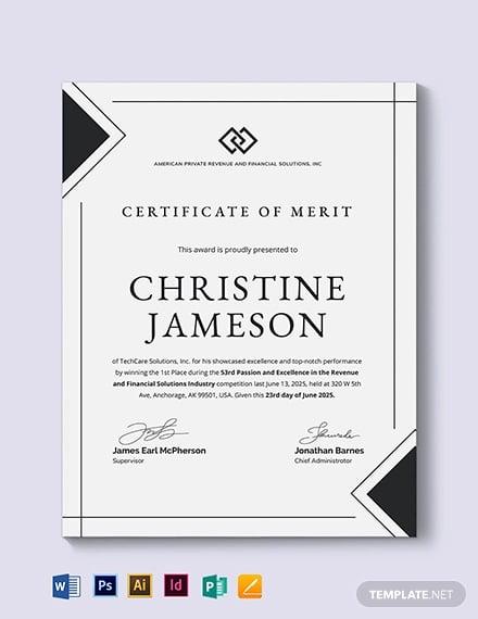 simple certificate of merit template