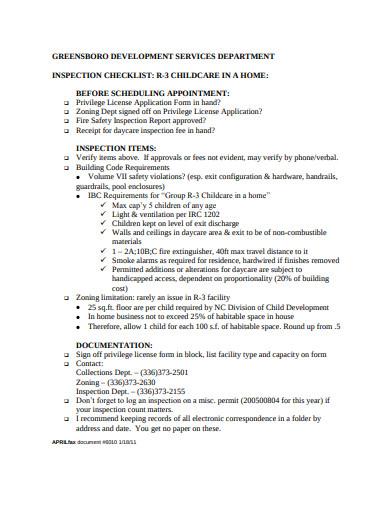 simple child care inspection checklist