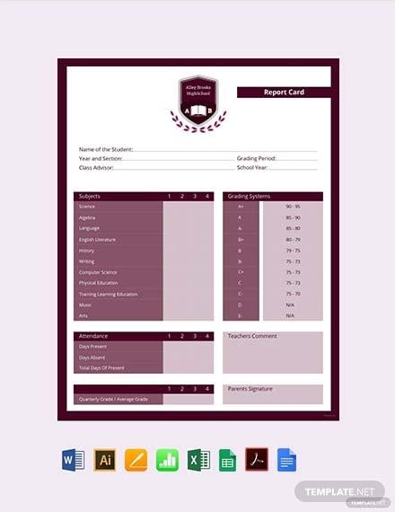 simple high school report card template