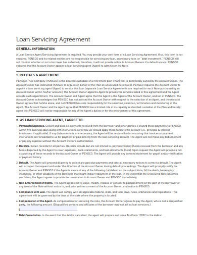 simple investment loan servicing agreement