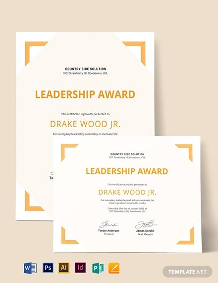 simple leadership certificate template 1