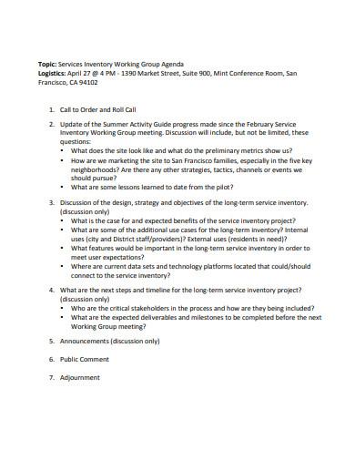 simple logistics working group agenda