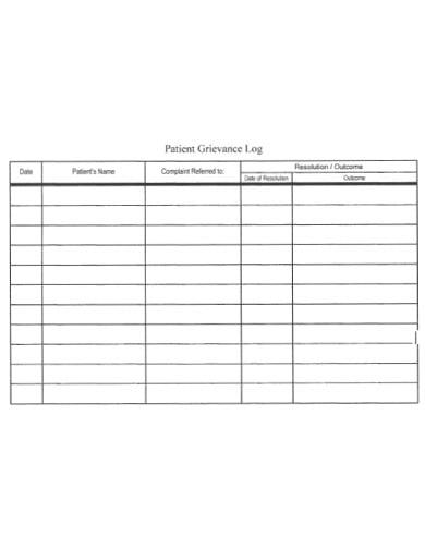 simple patient complaint log