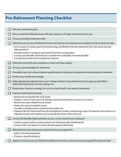 simple pre retirement planning checklist template