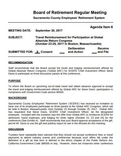 simple retirement board meeting bio