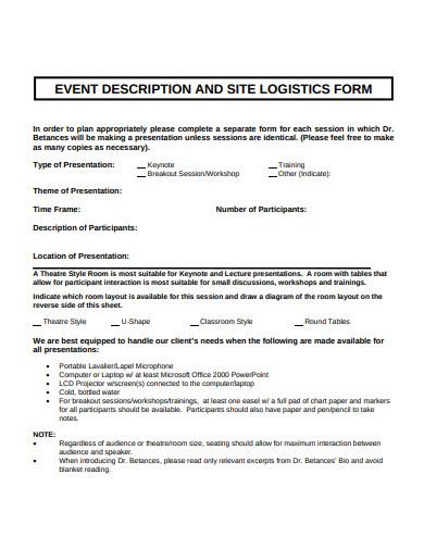 site logistics form