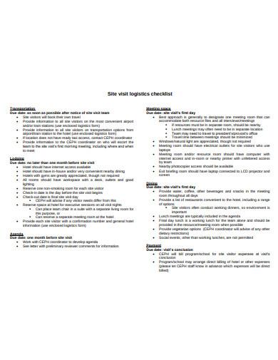 site visit logistics checklist
