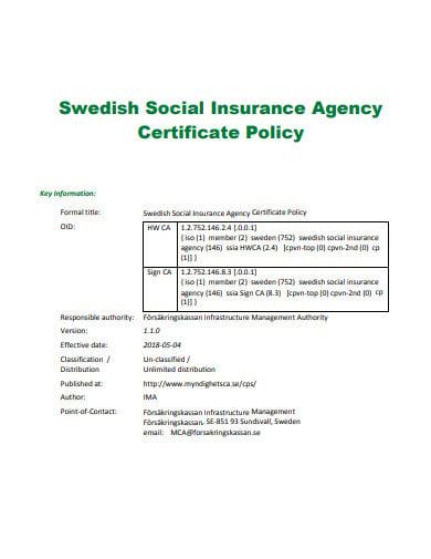 social insurance agency certificate