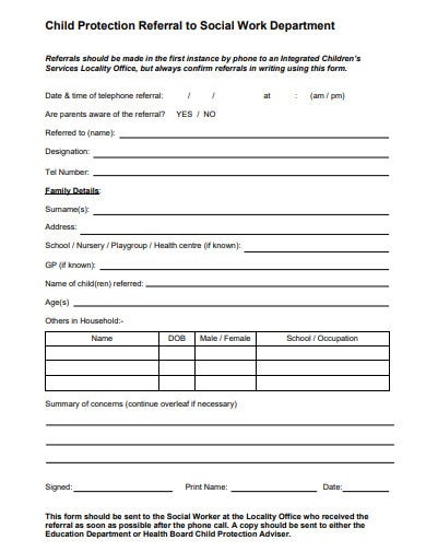 social work department referral form template1