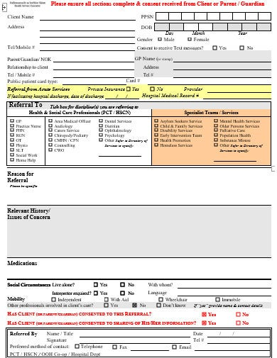 social work referral form template in doc