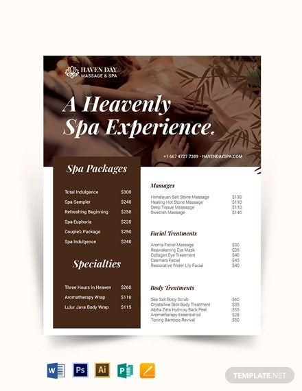 spa price list template