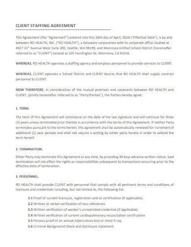 staffing agency agreement template