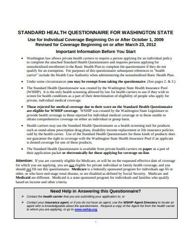 standard health questionnaire1
