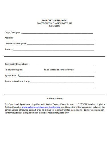 standard logistics contract template