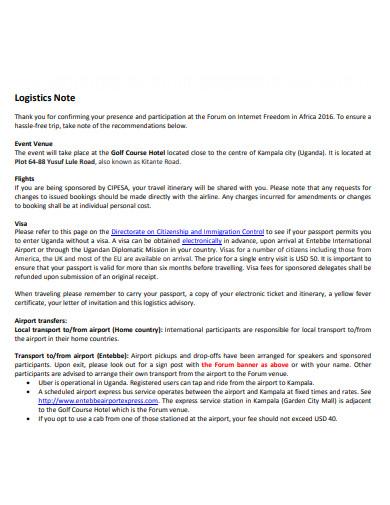 standard logistics note
