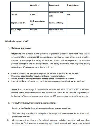 standard operating procedures manual