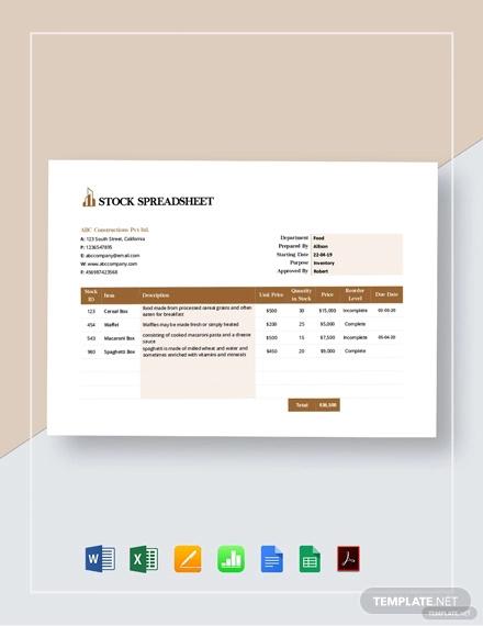 stock spreadsheet template