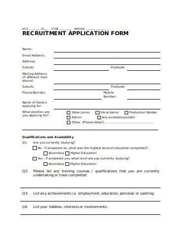 store recruitment application form in doc