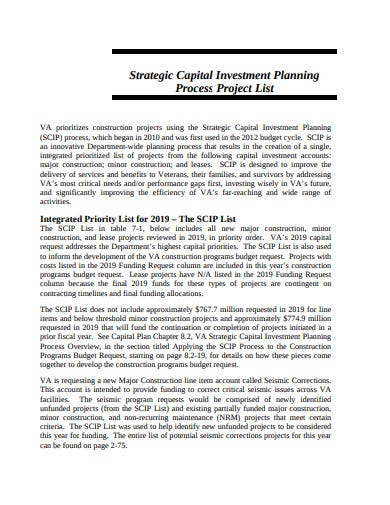 strategic capital investment project planning