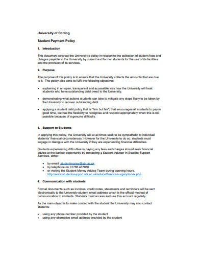 student payment policy example
