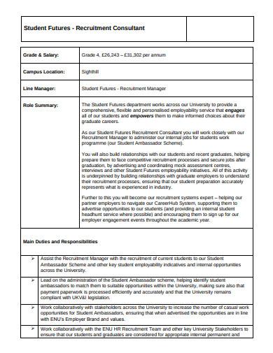 student recruitment consultant cv