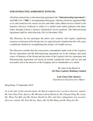 subcontracting logistics service agreement